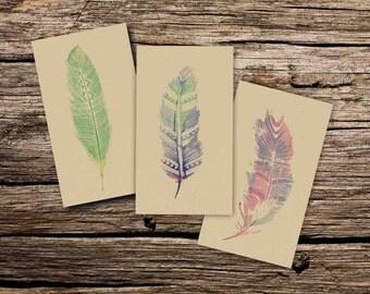 Blank card set - blank feather card set