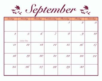 September 2016 Floral Calendar - Instant Printable