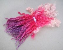 """Hand dyed Teeswater wool locks, 6-8"""" for spinning knitting and felting 0.5 oz"""