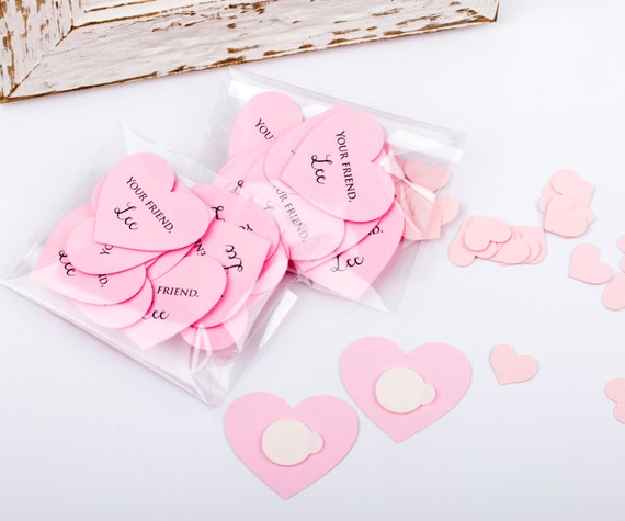 Paper Hearts with Custom Text for Christmas or Valentines Days Cards - 12 PCS