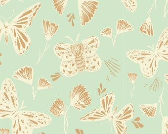 ORGANIC KNIT - Sweetly Sings Golden in Knit, Hello Ollie Collection by Bonnie Christine for Art Gallery Fabrics