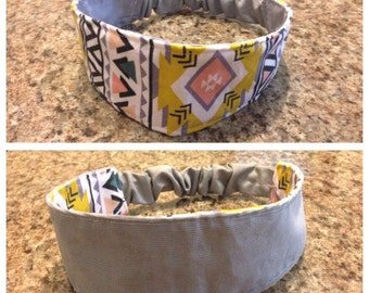 Adult white aztec/solid grey reversible fabric headband/hairband/hair accessory
