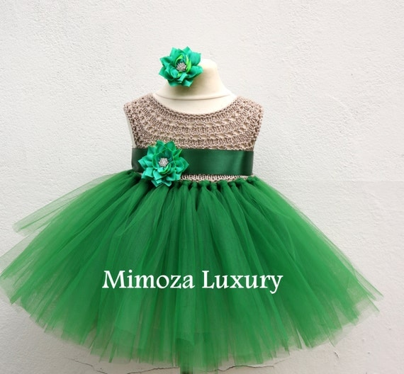 SALE size 0-6m,6-12m, Ready to ship, Birthday dress tutu dress,  bridesmaid dress, green princess dress, crochet top tulle