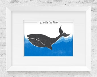 Go With The Flow, Whale Illustration - Art Print