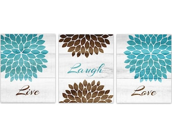Brown and Aqua Bedroom CANVAS Wall Art, Live Laugh Love PRINT, Home Decor Wall Art, Teal and Brown Flower Burst Bedroom Wall Decor - HOME155