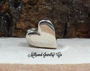 Small Heart Bead, Heart Charm, Tiny Heart Bead, Flat Heart Bead, Sterling Silver Heart Charm, PS01434