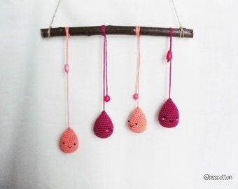 Coloreful mobile crib, raindrops, happy rain, branch with amigurumi drops, newborn gift, baby shower gift, fucsia and peach, wall decoration