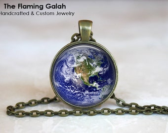 PLANET EARTH Pendant •  Earth from Space •  World Globe •  Picture of Earth •  The Universe • Gift Under 20 • Made in Australia (P0294)