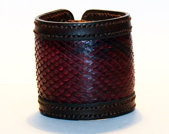 Brown Leather Cuff Bracelet With Red Python Leather! Nice gift for women! Made in Latvia! Handmade Brown leather Cuff! Unique item!