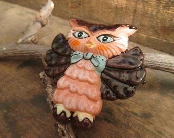 vintage berries owl pin