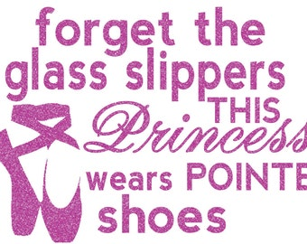 Princess Dance Glass Slippers Iron On Decal