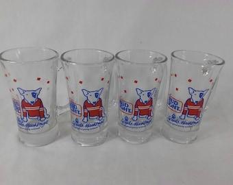 Set of 4 vintage glass spuds Mackenzie beer mugs the original party animal bud light