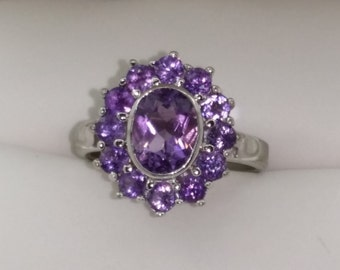 Sterling Silver Amethyst Ring Size 5.5