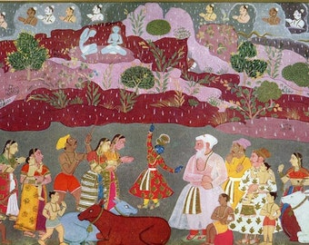 Indian Miniature Painting - Krishna Lifting the Mount Govardhana - 1970's printed reproduction