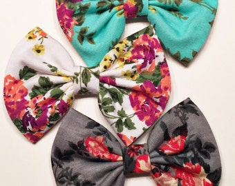 The Floral Set - baby bow - infant headband - newborn nylon