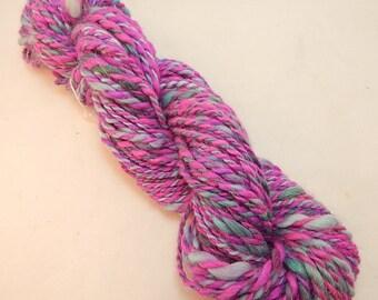Suri Alpaca Merino Blend Yarn 95/5, 2 Ply, Hand Spun , Hot Pink and Teal