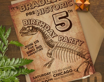 Dinosaur Prehistoric Printable Birthday Party Invitation / T-rex, dinosaur fossil hunt, bone dig