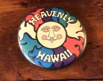 Vintage Retro Heavenly Hawaii Souvenir Pinback Button Pin Colorful Sunshine
