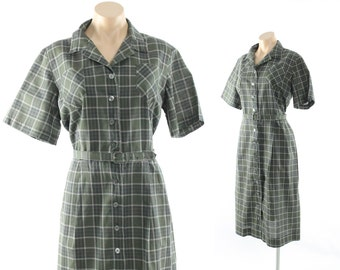 Vintage 60s Plus Size Day Dress Green Plaid Button Up Shirtwaist Short Sleeve 1960s Nancy Wayne Pinup Rockabilly Fashion
