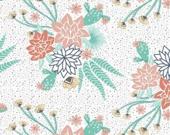 Changing Pad Cover - Mojave Bloom in White