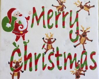 Merry Christmas Reindeer handglazed tile