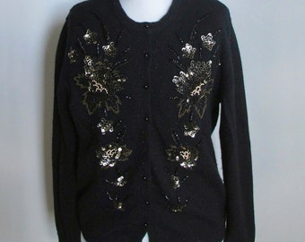 50s Beaded Cardigan Black Lambswool with Gold  XL