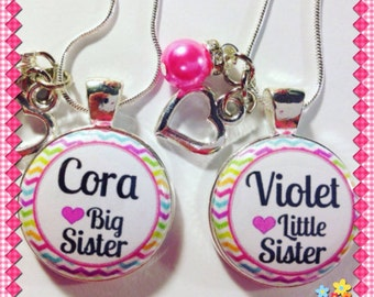 BIG SISTER LITTLE Sister Charms, Personalized Big & Little  Sister Charm Necklace Announcement new baby, shower, big sister little sister