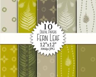 """Mustard khaki fern digital paper """"FERN LEAF"""" for scrapbooking. Fern pattern digital paper pack. Earth tones, beige, gray, fern backgrounds."""