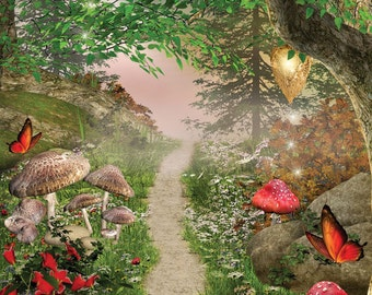3x4 Scenic Photo Backdrop of Magical Forest - FabVinyl 3x4ft (FV5088)