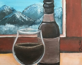 painting of beer, man cave decor, bar decoration