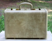 Vintage Samsonite 1950s White Marbled Overnighter Hard Shell Suitcase