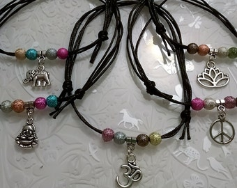Ankle Bracelet~peace sign~cotton cord Anklet~hippie~glastonbury~om~buddha~black