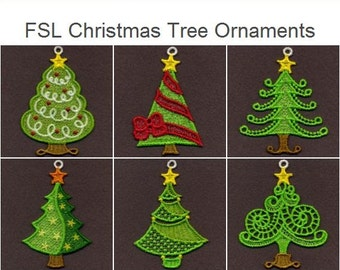 FSL Christmas Tree Ornaments Free Standing Lace Machine Embroidery Designs Instant Download 4x4 hoop 10 designs SHE1819