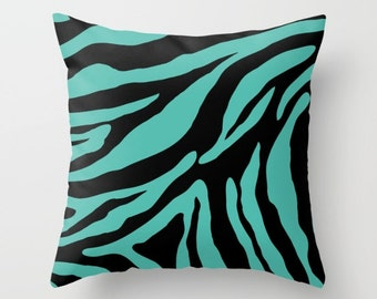 Zebra Pillow Cover - Zebra Cushion Cover - Teal and Black Zebra Pillow Cover - Animal Print Decorative Pillow - By Aldari Home