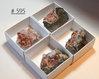 Four (Pictured) Rhodochrosite Crystal Grouping Miniatures in Black Manganite Matrix, from  Peru