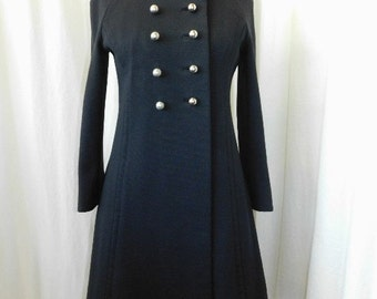 1960's Double Breasted Black Flared  Coat