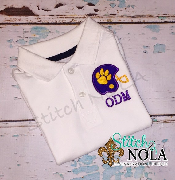 Monogrammed Collared Shirt with Helmet Applique