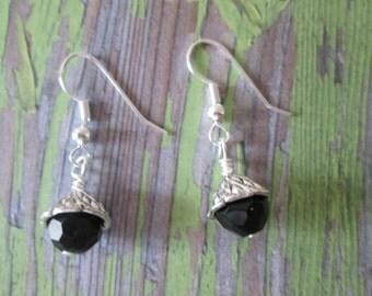 Black Silver Dangle Earrings, gift idea, small simple earrings, stocking stuffer, handmade jewelry, made in USA, vintage look black earrings