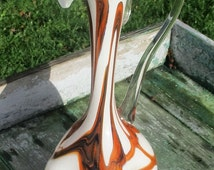 Vintage Orange Lines Mid Century Cased Glass Vase Jug Ear Era Empoli Dents