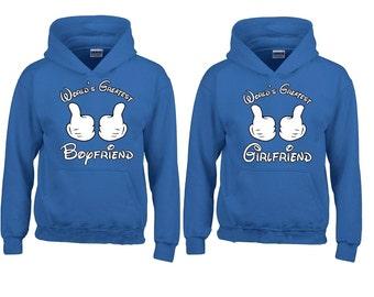 Couple Hoodie Worlds Greatest Boyfriend Worlds Greatest Girlfriend Matching Sweatshirts Love Couple Hoodie Fast Prior ----- BLUE-BLUE