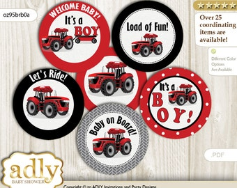 Boy Tractor Cupcake Toppers for Baby Shower Printable DIY, favor tags, circles, It's a Boy, Farmer - oz95brb0