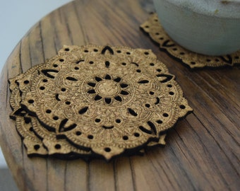 Mandala Cork Coasters