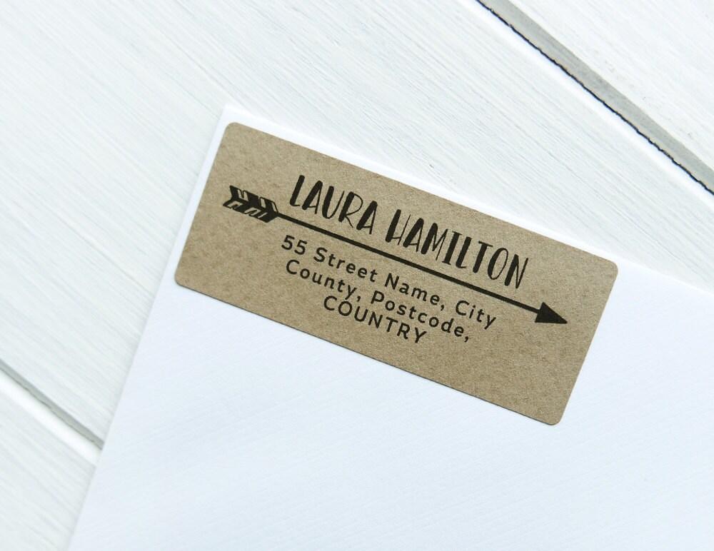 30 Custom Return Address Labels Arrow Personalized Kraft