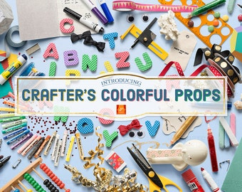 Crafter's Colorful Props- scene creator, HERO, template, logo mock up, props for crafty DIYers & designers, color decorations, deal
