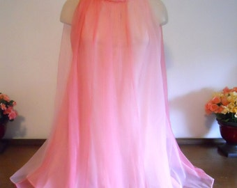 Vintage 1950's ~  Baby Doll Nightgown ~ 2 Tone Sheer & Frothy Pink Chiffon ~ Silky Nylon ~ Lolita ~ VLV ~ Feminine Pink Nightgown ~ M