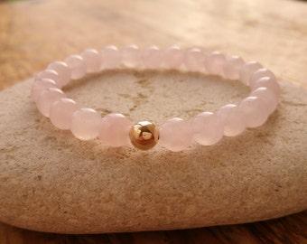 Rose Quartz Bracelet, 9ct Gold Bracelet, Beaded Bracelet, Stretch Bracelet, Quartz Bracelet, Rose Gemstone Bracelet