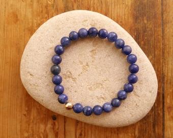 S A L E Sodalite Bracelet, 9ct Gold Bracelet, Beaded Bracelet, Stretch Bracelet, Blue Bracelet, Blue Gemstone Bracelet
