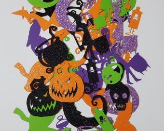 Halloween Themed Scrap Booking Die Cut Out Confetti Embellishments