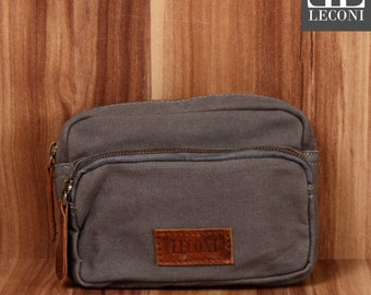 LECONI belt bag Fanny Pack waist bag leather of canvas grey LE3037-C