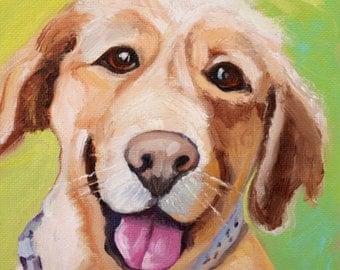 Zoe 6x6 oil painting by Renee Brennan Art, Pet Portrait, Golden Labrador, Keepsake Pet Painting, Furry Friend